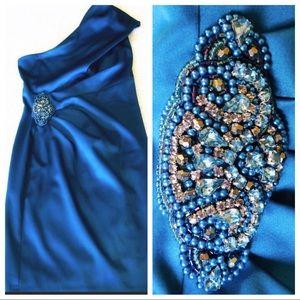 💎 Jeweled Teal One shoulder Jessica Howard dress